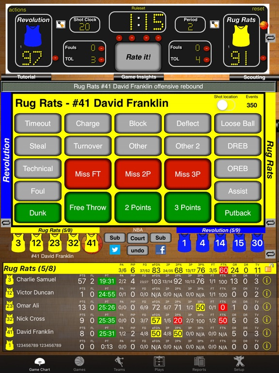 Ballers Basketball Stats Screenshots