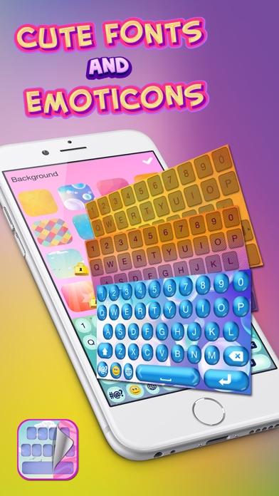 可爱的字体和表情符号 – 彩虹键盘同丰富多彩的主题个性化您的文本