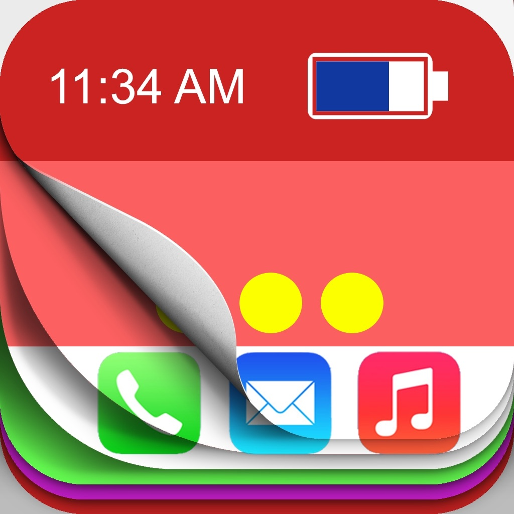 Color Status Bar & Dock & Battery Colors - Custom Top Bar Overlays for Your Wallpapers icon