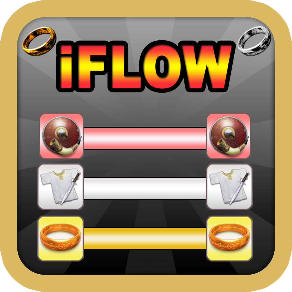 iFlow The Lord Middle Earth Wars : Free Flow Puzzle of the Connecting The Colour Rings and Weapons