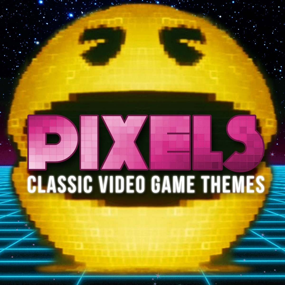 PIXELS - Retro Video Game Themes Album Cover by The Video Game Music