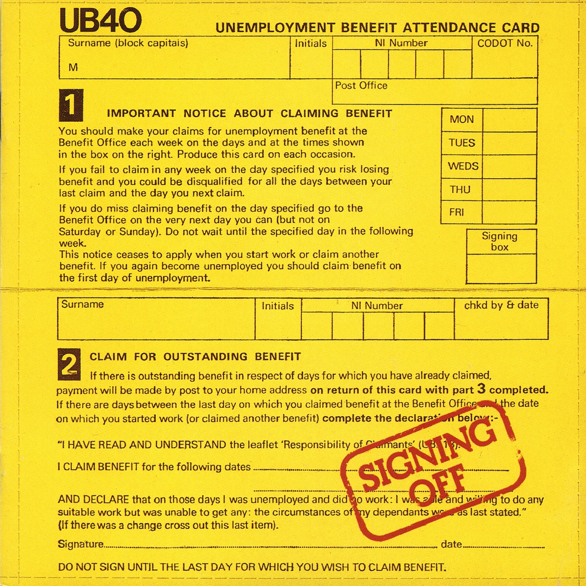 Signing Off Album Cover by UB40
