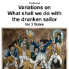 Traditional Variations on What shall we do with the drunken sailor for flute trio Single