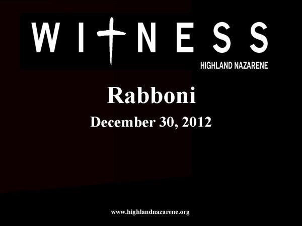 Highlnd Nazarene - Rabboni