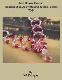 Pink Flower Pendant Beading Jewelry Making Tutorial Series T144