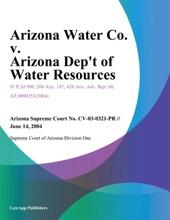 Arizona Water Co. v. Arizona Dep't of Water Resources