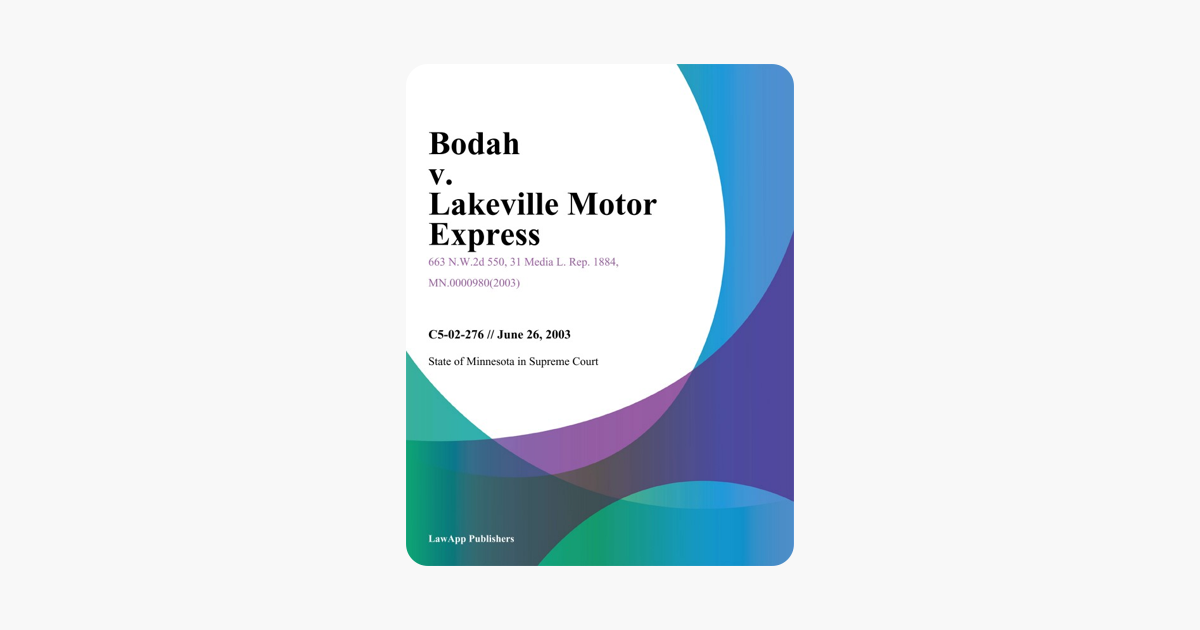 Bodah V. Lakeville Motor Express on Apple Books