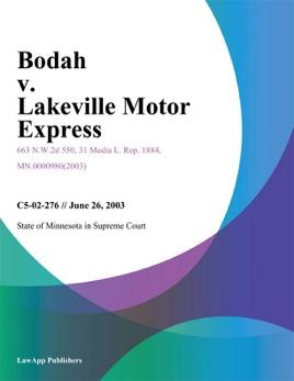 Bodah V. Lakeville Motor Express