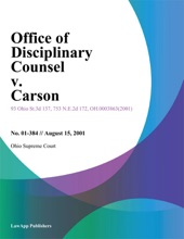 Office Of Disciplinary Counsel V. Carson