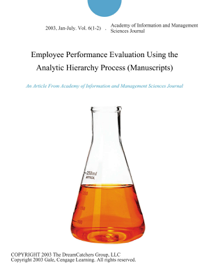 Employee Performance Evaluation Using the Analytic Hierarchy Process (Manuscripts)