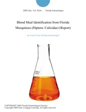 Blood Meal Identification from Florida Mosquitoes (Diptera: Culicidae) (Report)