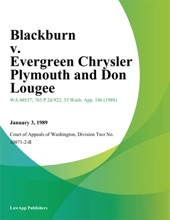 Blackburn v. Evergreen Chrysler Plymouth and Don Lougee