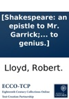 Shakespeare An Epistle To Mr Garrick With An Ode To Genius