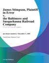 James Stimpson Plaintiff In Error V The Baltimore And Susquehanna Railroad Company