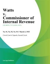 Watts v. Commissioner of Internal Revenue