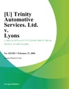 Trinity Automotive Services Ltd V Lyons
