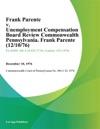 Frank Parente V Unemployment Compensation Board Review Commonwealth Pennsylvania Frank Parente