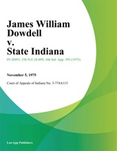 James William Dowdell V. State Indiana