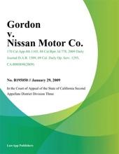 Gordon v. Nissan Motor Co.