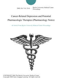 Cancer Related Depression And Potential Pharmacologic Therapies Pharmacology Notes