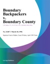 Boundary Backpackers V Boundary County