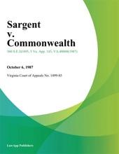 Sargent V. Commonwealth