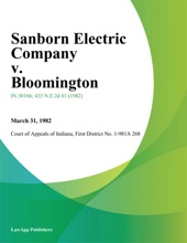 Sanborn Electric Company V. Bloomington