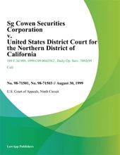 Sg Cowen Securities Corporation v. United States District Court for the Northern District of California
