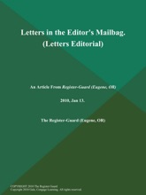 Letters in the Editor's Mailbag (Letters Editorial)