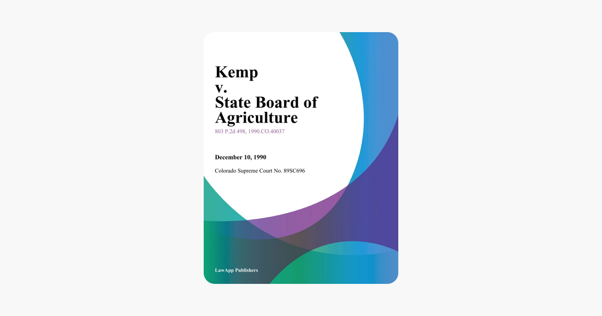 Kemp v  State Board of Agriculture