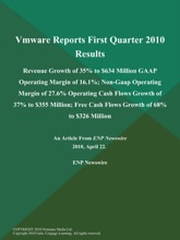 Vmware Reports First Quarter 2010 Results; Revenue Growth of 35% to $634 Million GAAP Operating Margin of 16.1%; Non-Gaap Operating Margin of 27.6% Operating Cash Flows Growth of 37% to $355 Million; Free Cash Flows Growth of 68% to $326 Million