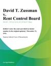 David T Zussman V Rent Control Board