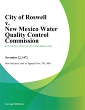 City Of Roswell V. New Mexico Water Quality Control Commission