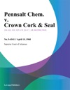 Pennsalt Chem V Crown Cork  Seal