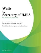 Watts V. Secretary Of H.H.S