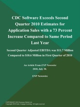 CDC Software Exceeds Second Quarter 2010 Estimates for Application Sales with a 73 Percent Increase Compared to Same Period Last Year; Second Quarter Adjusted EBITDA was $11.7 Million Compared to $10.6 Million in First Quarter of 2010