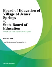 Board Of Education Of Village Of Jemez Springs V. State Board Of Education