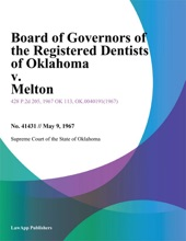 Board Of Governors Of The Registered Dentists Of Oklahoma V. Melton