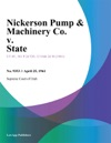 Nickerson Pump  Machinery Co V State