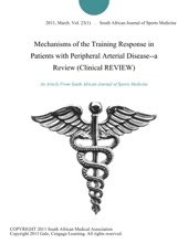 Mechanisms Of The Training Response In Patients With Peripheral Arterial Disease--a Review (Clinical REVIEW)