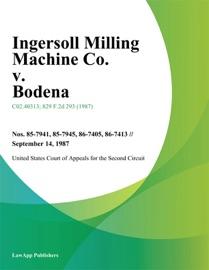 INGERSOLL MILLING MACHINE CO. V. BODENA