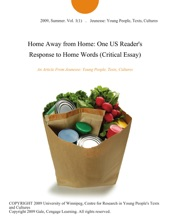 Home Away from Home: One US Reader's Response to Home Words (Critical Essay)