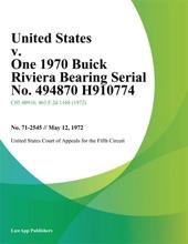 United States v. One 1970 Buick Riviera Bearing Serial No. 494870 H910774