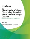 Kaufman V Pima Junior College Governing Board Of Pima Junior College District