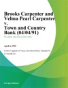 Brooks Carpenter And Velma Pearl Carpenter V Town And Country Bank