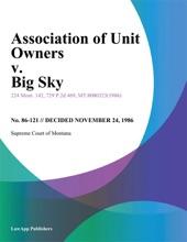 Association Of Unit Owners V. Big Sky
