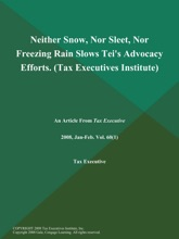 Neither Snow, Nor Sleet, Nor Freezing Rain Slows Tei's Advocacy Efforts (Tax Executives Institute)
