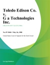 Toledo Edison Co V G A Technologies Inc