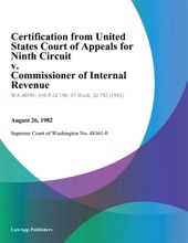 Certification From United States Court Of Appeals For Ninth Circuit V. Commissioner Of Internal Revenue