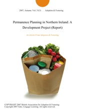 Permanence Planning In Northern Ireland: A Development Project (Report)